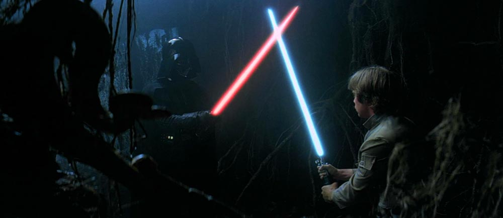 Luke Skywalker e Darth Vader in Star Wars L'Impero Colpisce Ancora