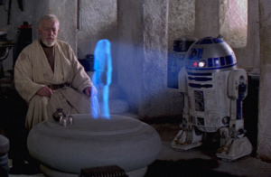 R2-D2 ologramma con Obi-Wan Kenobi Star Wars