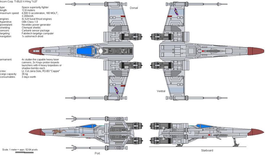 x-wing schema tecnico