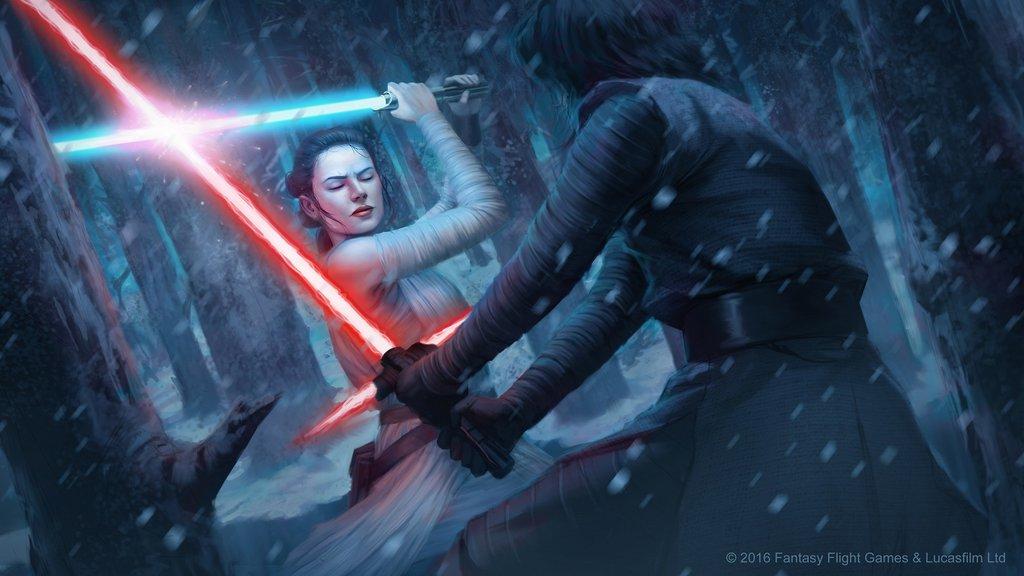kylo ren star wars rey combattimento