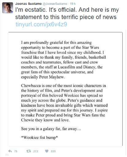 messaggio del nuovo attore di chewbacca star wars