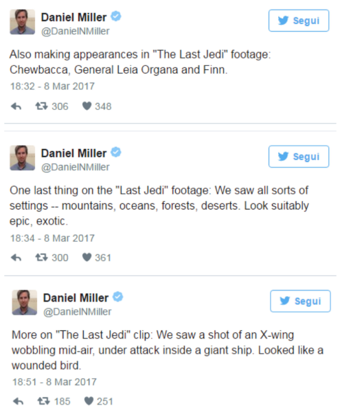 scene di star wars rivelate da daniel miller