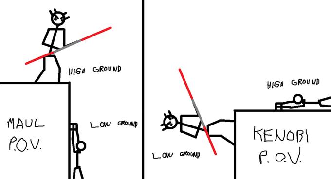 high ground meme darth maul obi wan