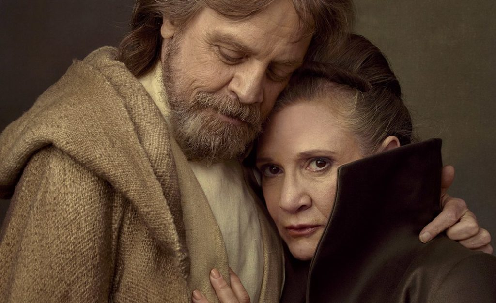 darth vader luke e leia abbraccio set star wars episodio viii