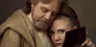 luke e leia abbraccio set star wars episodio viii