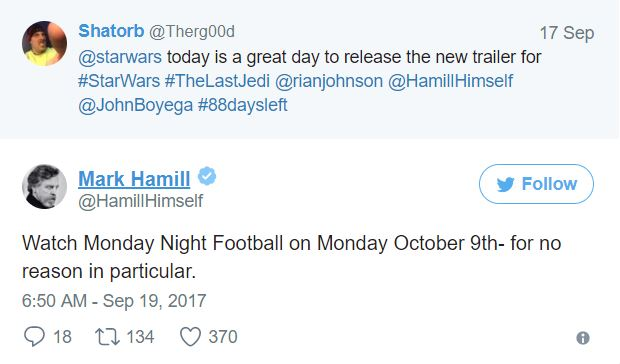 tweet mark hamill the last jedi trailer