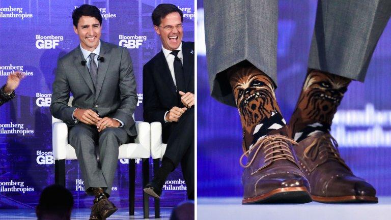 star wars justin trudeau premier canadese calzini chewbacca