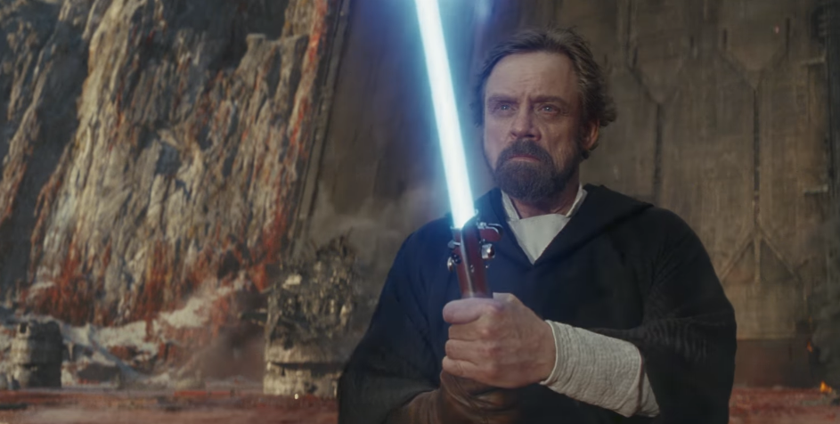 hamill spada laser blu di luke in star wars the last jedi
