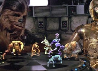 chewbacca c3po star wars episodio iV scacchi ologrammi holochess