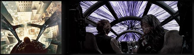 star wars fantascienza parallelismo aeropittura futurista millennium falcon