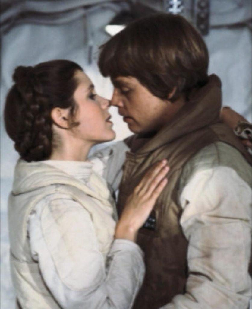luke skywalker principessa leia bacio episodio v