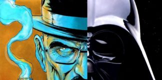 walter white darth vader half face artwork