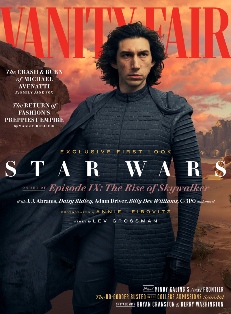 copertina vanity fair kylo ren adam driver set