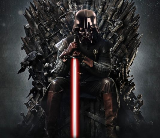 Darth Vader sul trono di spade di Game of Thrones.