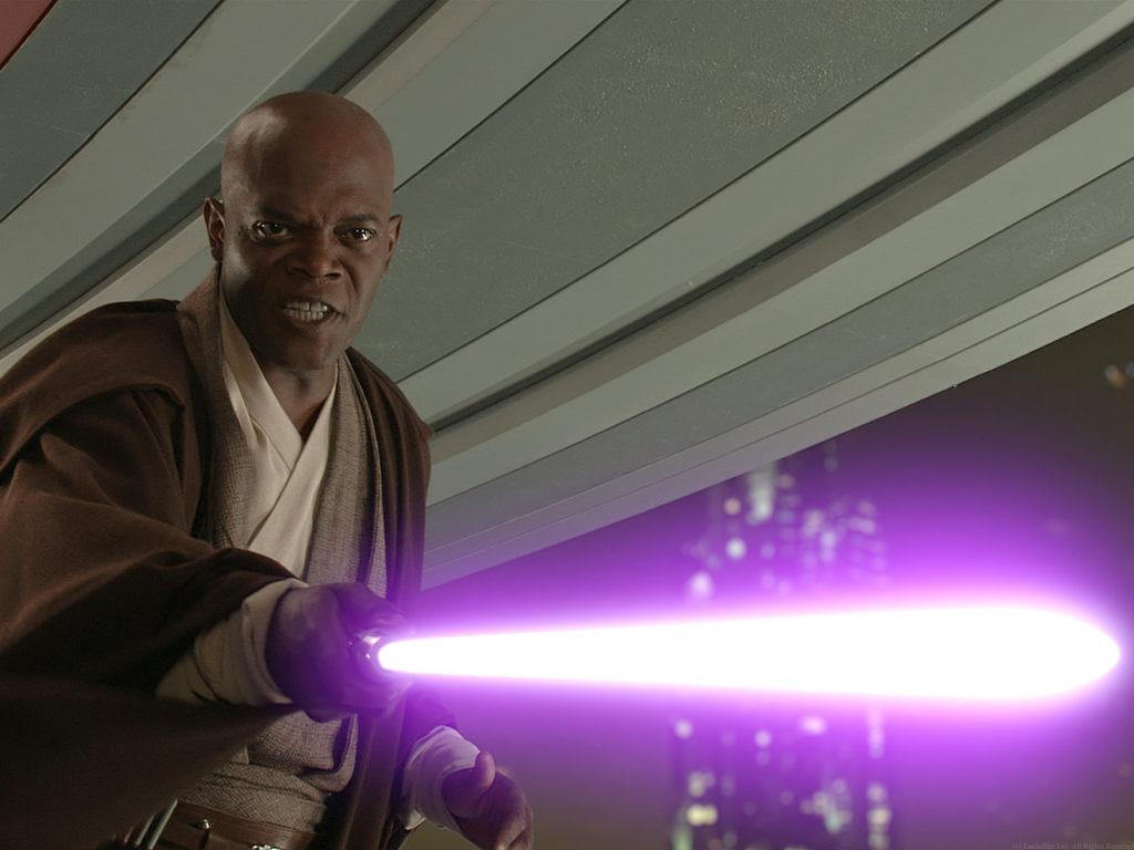 La spada laser viola di Mace Windu.
