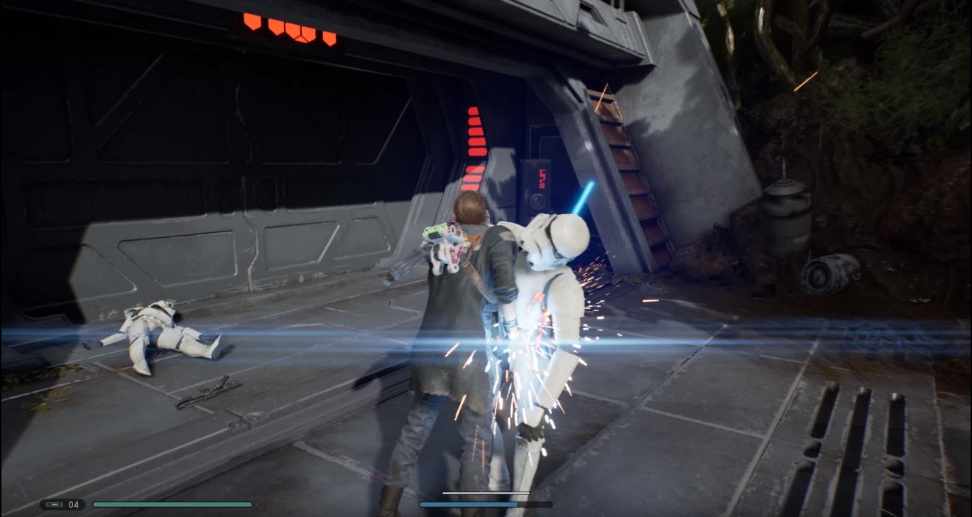 cal usa forza infilza stormtrooper con spada laser combattimento gameplay jedi: fallen order