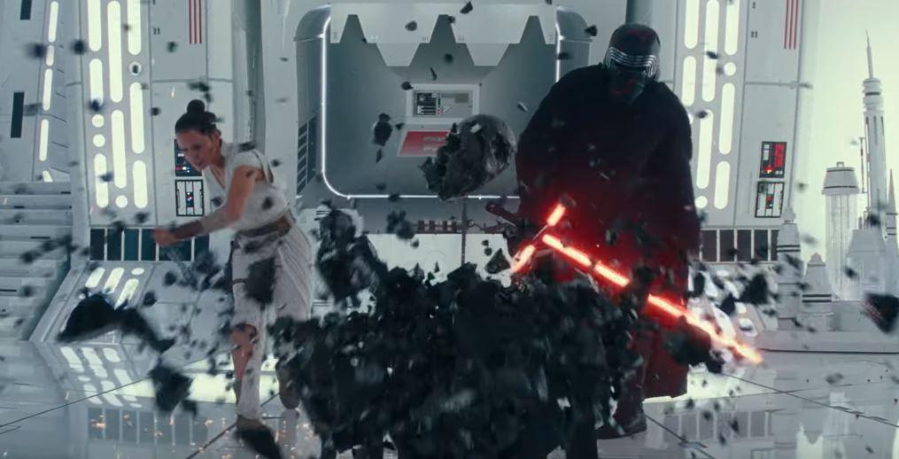 rey e kylo ren con l'altare nel trailer di episodio ix