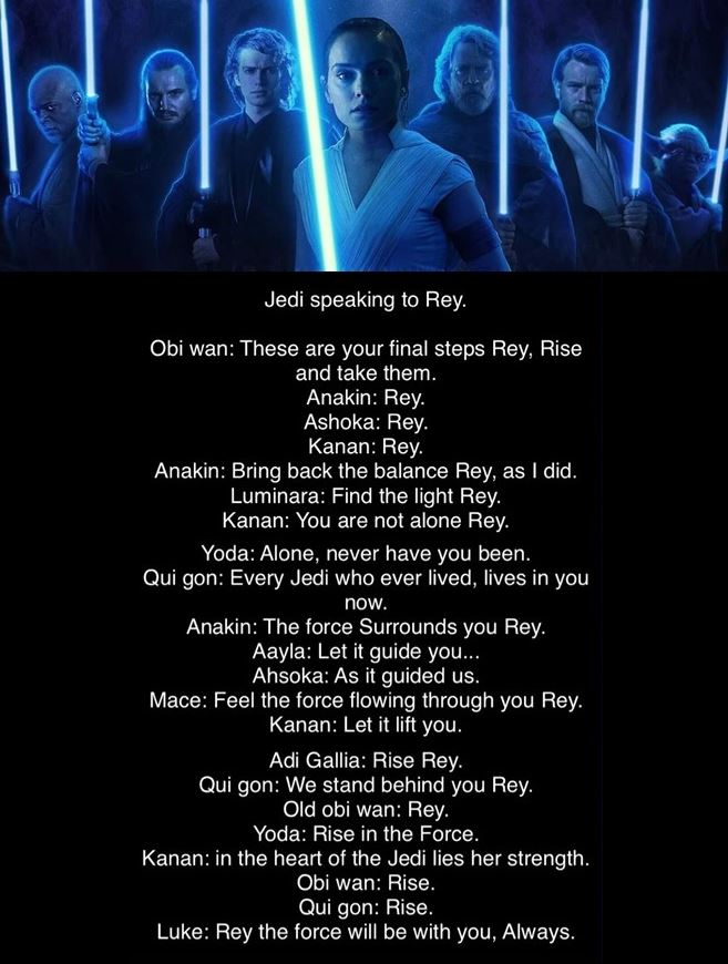 le voci dei jedi in star wars the rise of skywalker
