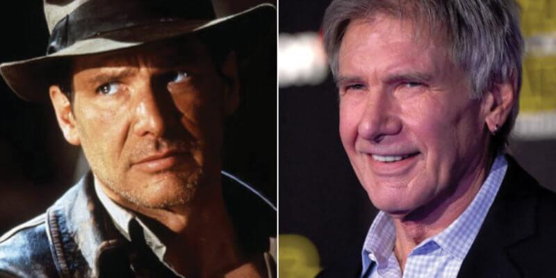 Harrison Ford nel primo Indiana Jones e Harrison Ford oggi.