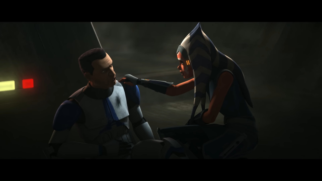 Ahsoka e un soldato ferito in The Clone Wars