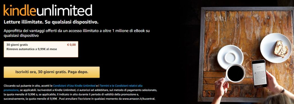 La promozione Kindle unlimited di Amazon