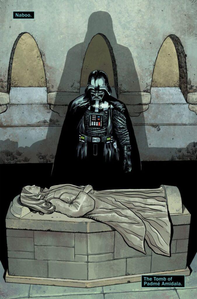 darth vader sulla tomba di padme